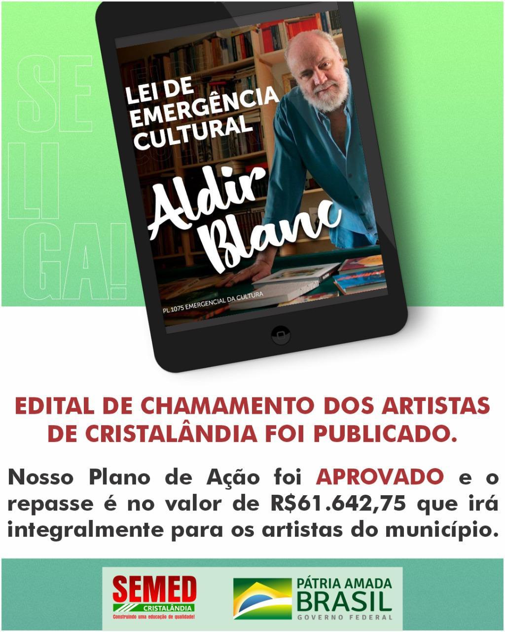 Prefeitura de Cristalândia lança edital do Prêmio Aldir Blanc de Apoio a Projetos Artísticos e Culturais