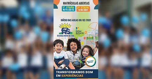 Escola Raio de Sol, uma das instituições mais conceituadas de Paraíso, abre matrículas para 2021