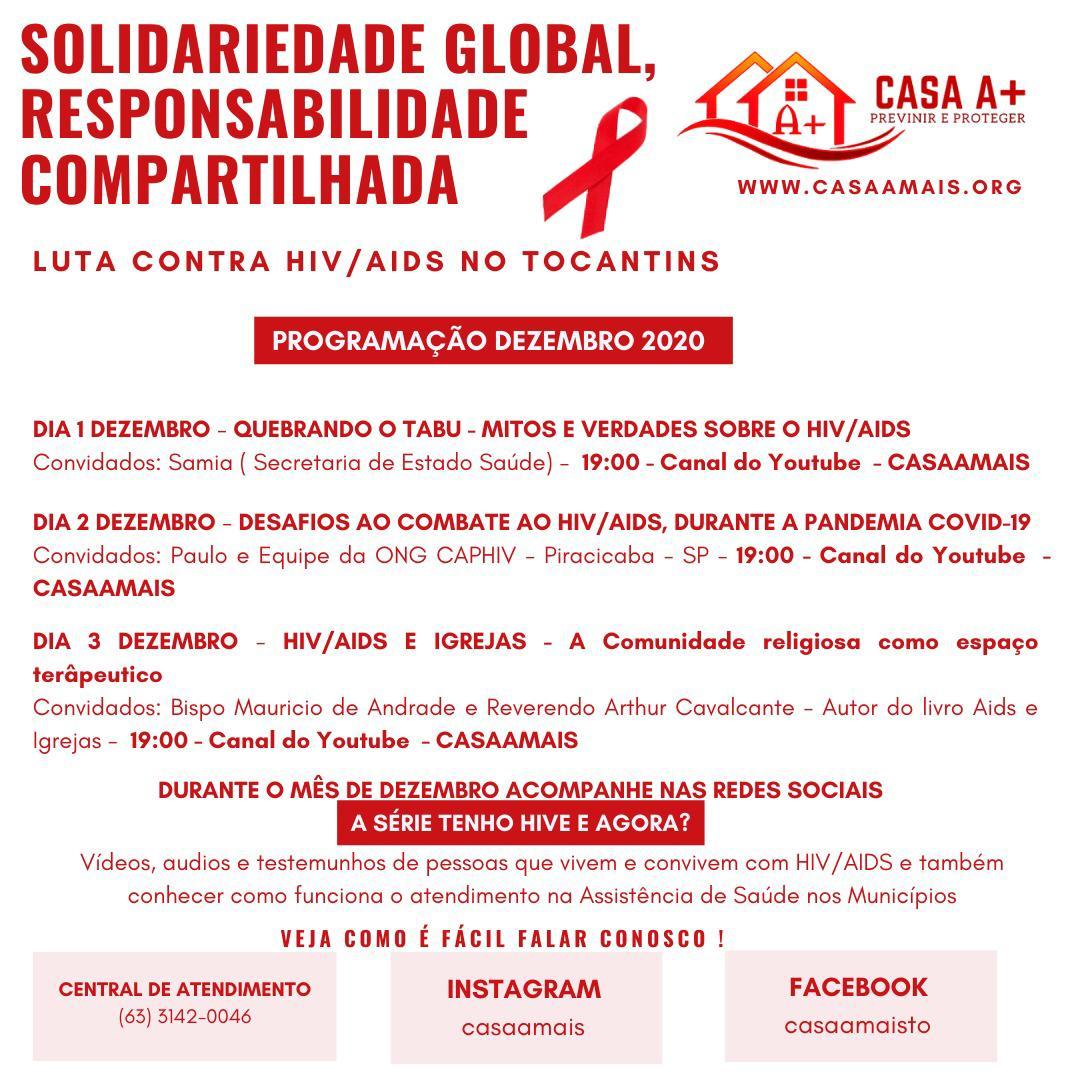 Dezembro Vermelho: CASA A+ realizará lives para orientar e esclarecer dúvidas sobre prevenção e tratamento ao HIV e a AIDS