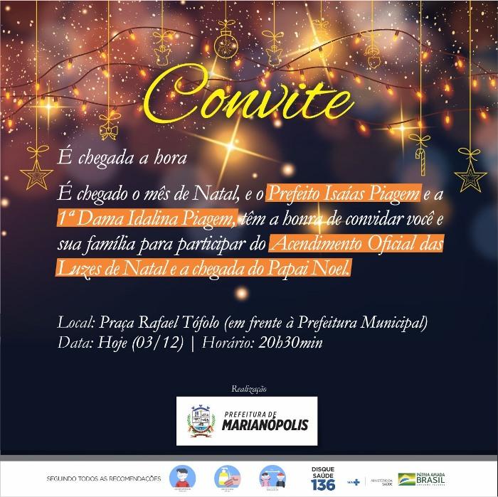 Prefeitura de Marianópolis inaugura luzes natalinas nesta quinta, 3