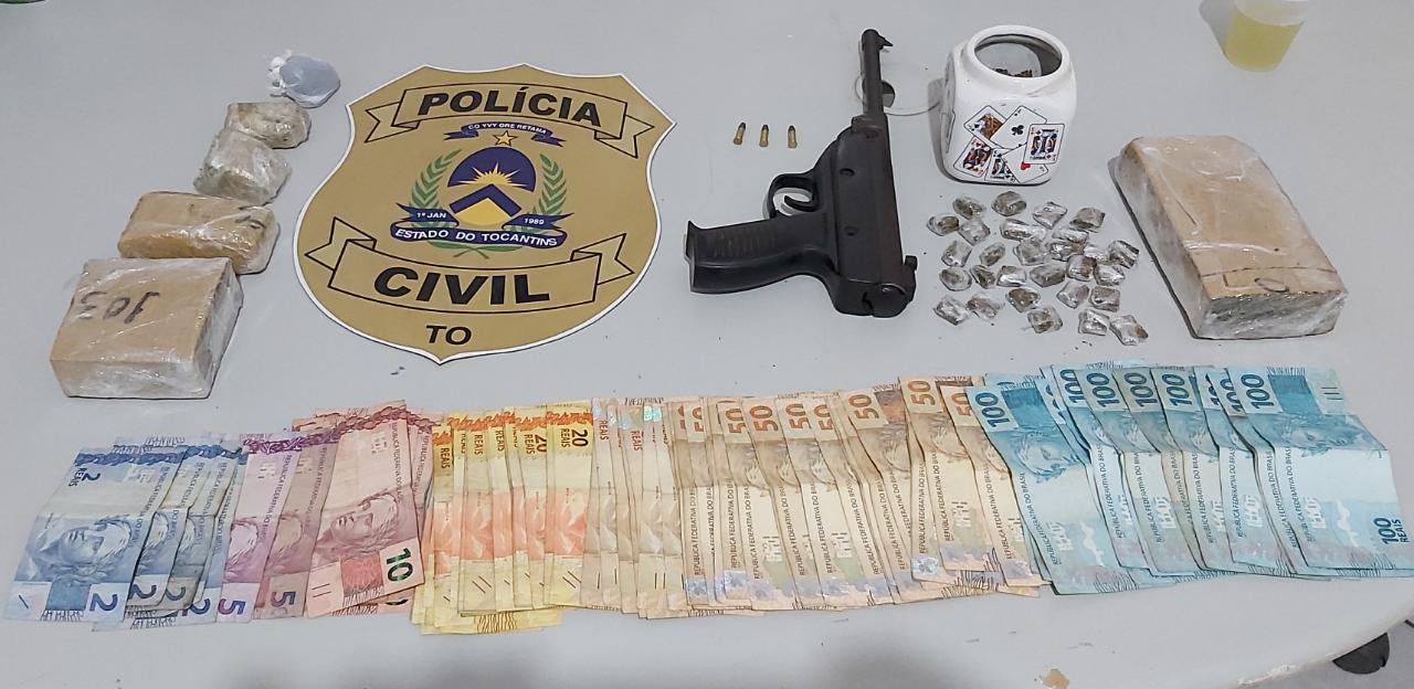Traficante em Nova Olinda é preso com drogas, grande quantidade de dinheiro e arma de fogo