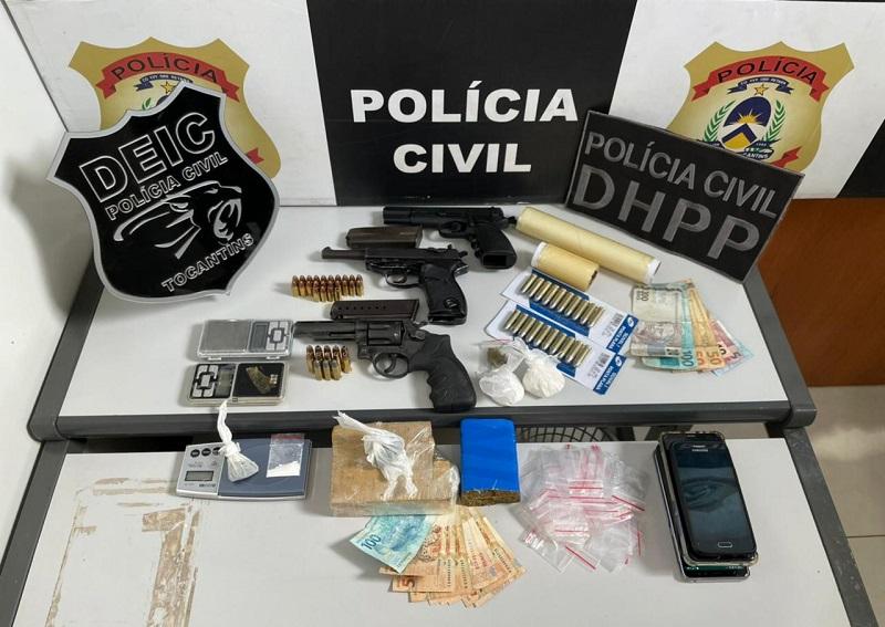 Polícia Civil prende em Gurupi cinco suspeitos por tráfico de drogas e apreende armas de fogo e entorpecentes