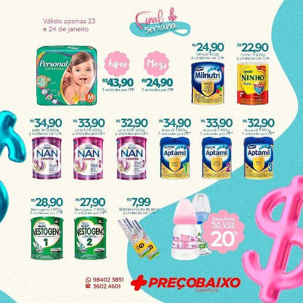 Confira as ofertas da Farmácia Preço Baixo de Paraíso para o final de semana