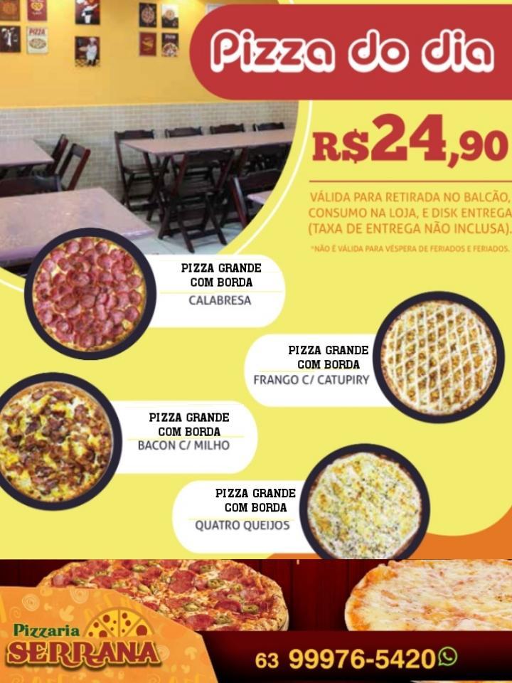 Pizzaria Serrana tem pizza grande com borda a R$ 24,90 em Paraíso