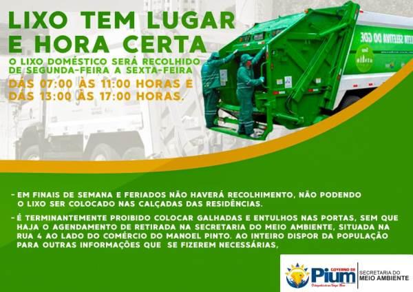 Prefeitura de Pium divulga cronograma da coleta de lixo e procedimentos para remoção de entulhos