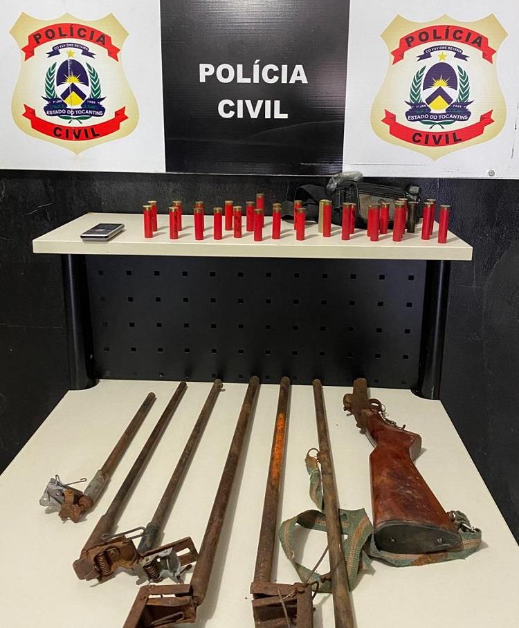Polícia Civil apreende armas e munições em Ponte Alta do Bom Jesus