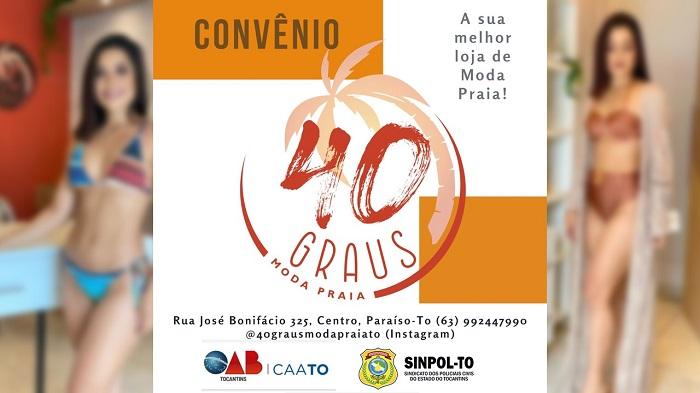 40 Graus Moda Praia oferece desconto exclusivo ao SINPOL-TO e OAB-TO