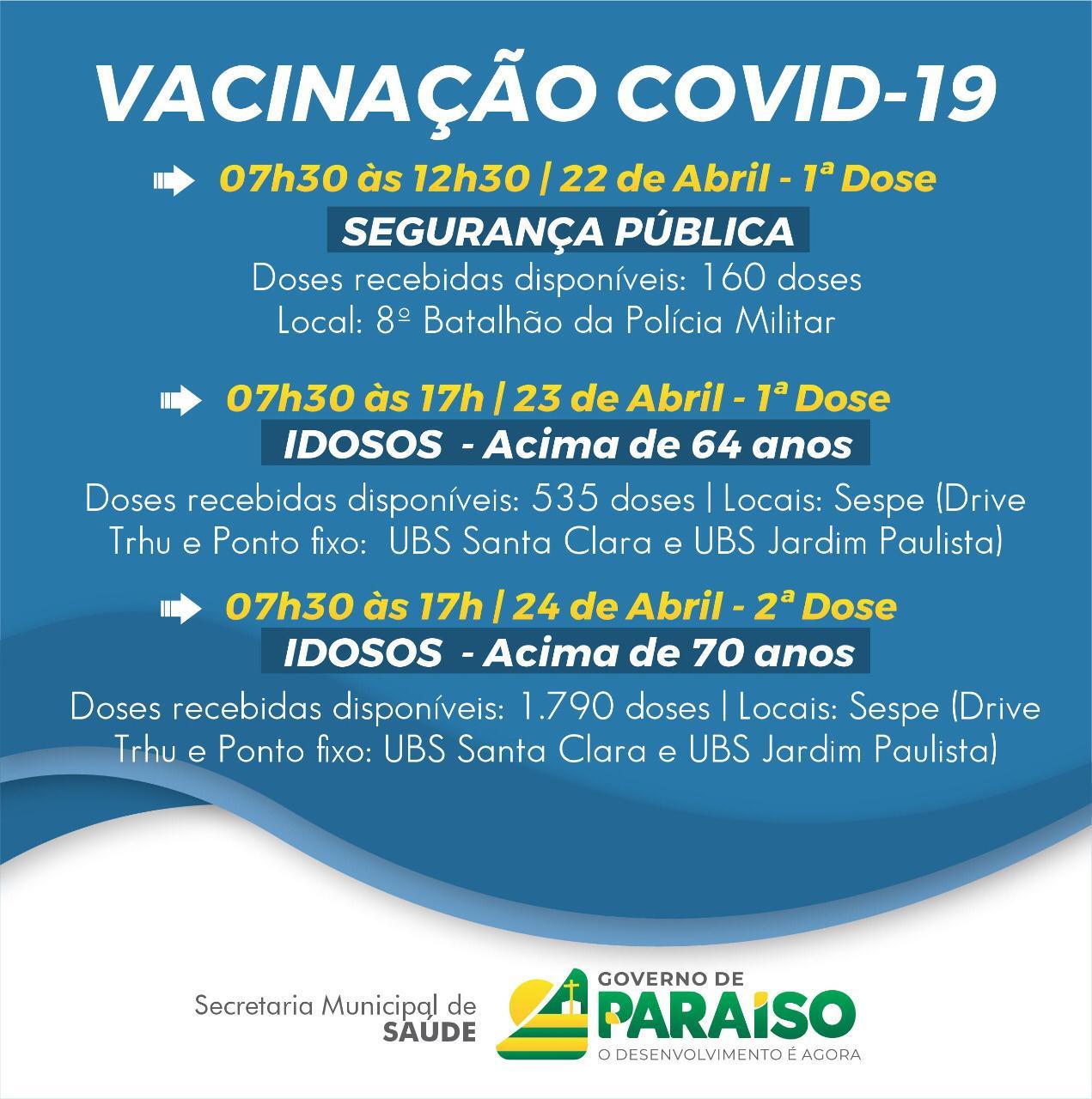 Covid-19: Saúde de Paraíso atualiza cronograma de vacinação e inclui idosos a partir de 64 anos