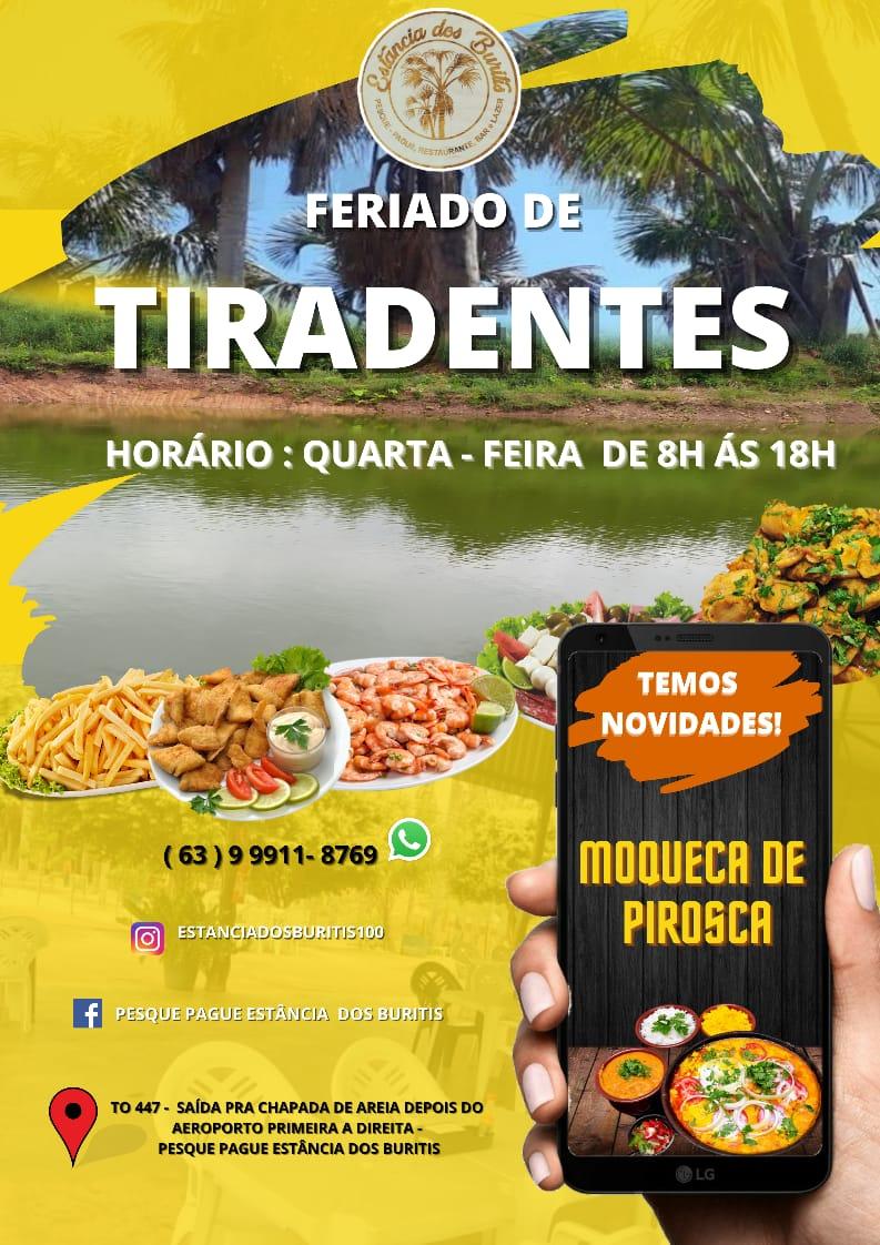 Estância dos Buritis atenderá no feriado de Tiradentes em Paraíso com novidade no cardápio