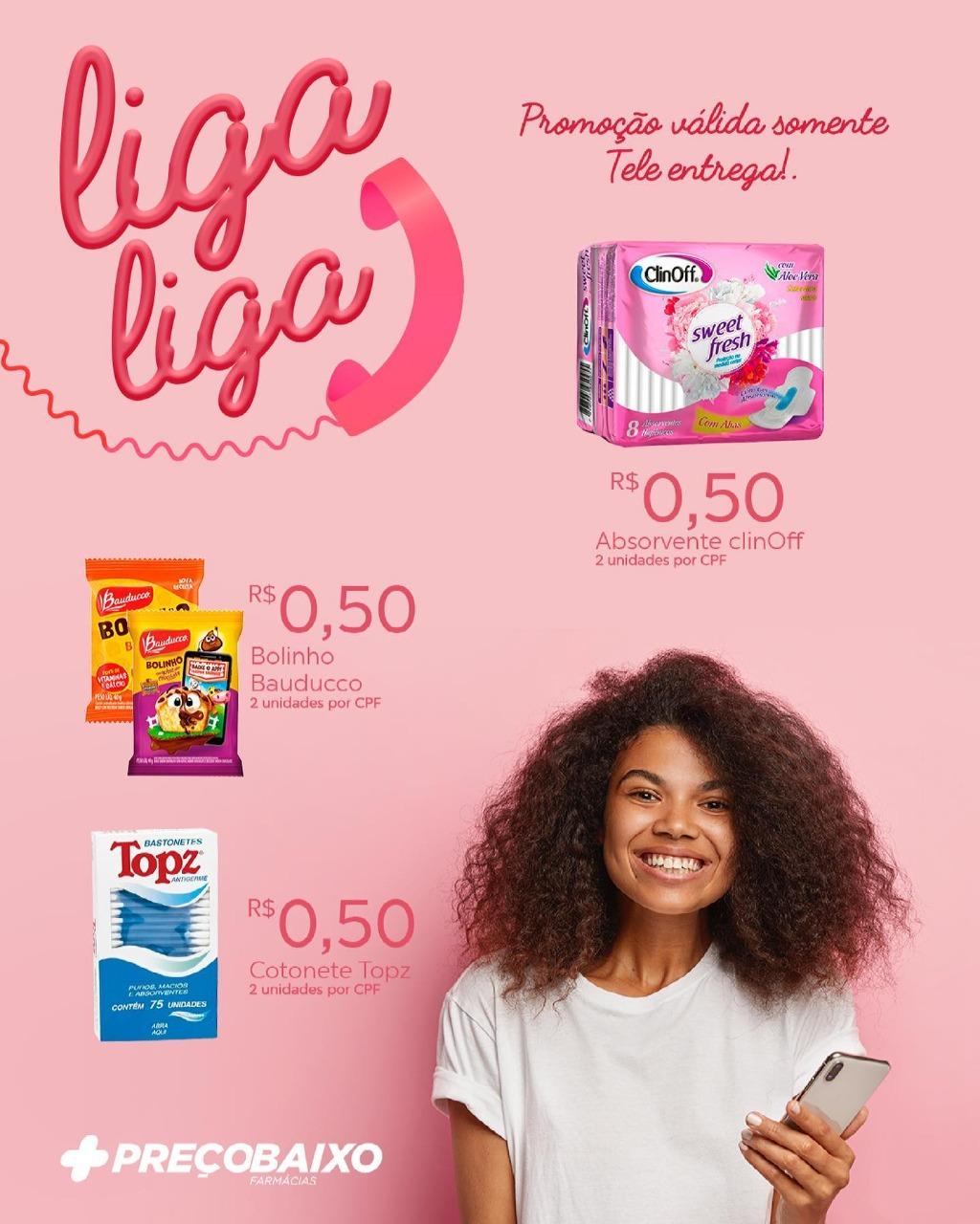 Farmácia Preço Baixo de Paraíso anuncia oferta de produtos a 50 centavos pelo tele entrega