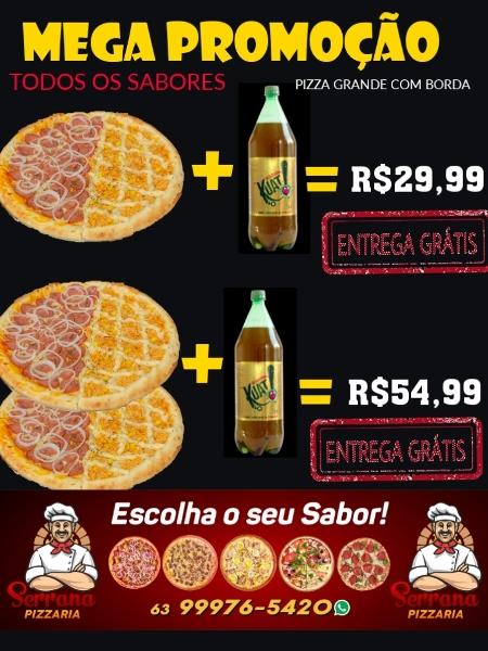 Serrana anuncia descontos em pizzas grandes e entrega grátis nesta sexta (9)