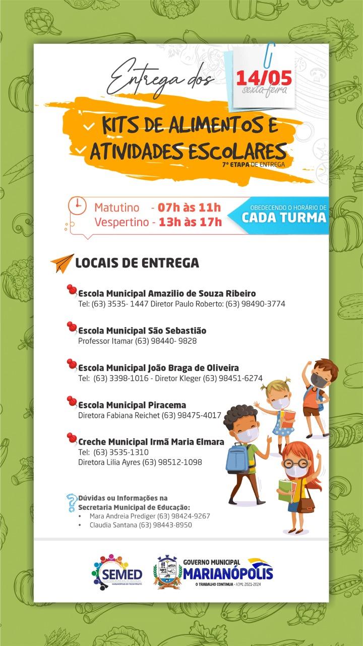 Marianópolis realizará entrega de kits de alimentos e atividades escolares nesta sexta, 14