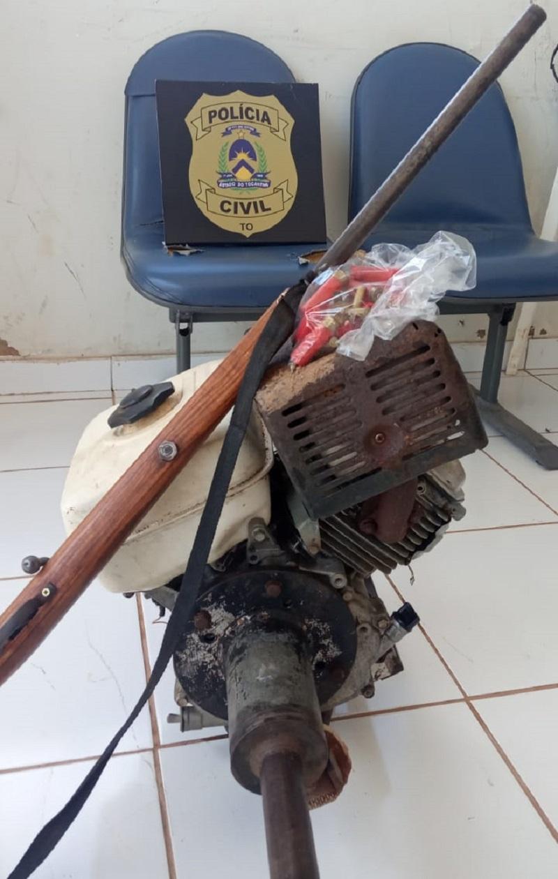 Polícia Civil recupera motor de barco furtado e faz flagrante de receptação e posse de arma de fogo em Pedro Afonso