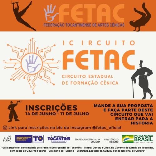 Federação Tocantinense de Artes Cênicas abre seleção de instrutores e produtores para Circuito de Formação Cênica
