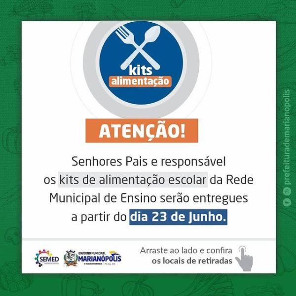 Educação de Marianópolis inicia nova etapa de distribuição de alimentos nesta quarta, 23