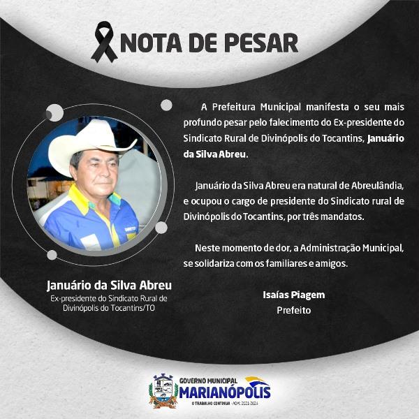 Prefeitura de Marianópolis manifesta pesar pela morte de agropecuarista