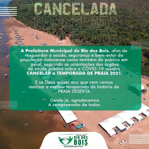Prefeitura de Rio dos Bois cancela temporada da Praia Deserta devido à pandemia