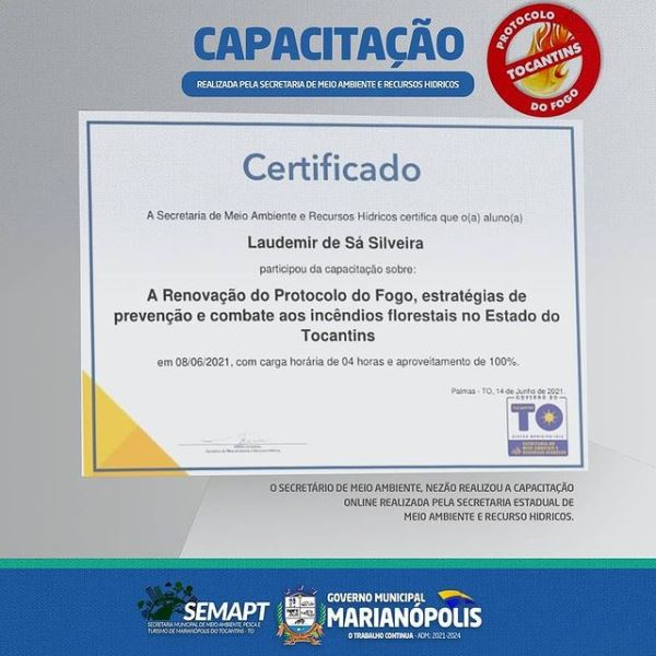 Secretário de Meio Ambiente de Marianópolis participa de formação sobre a Renovação do Protocolo do Fogo