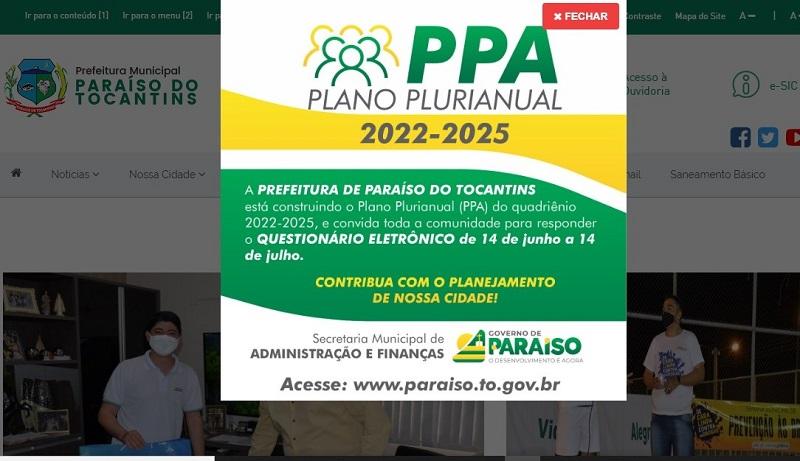 Prefeitura de Paraíso convida população a participar da construção do Plano Plurianual