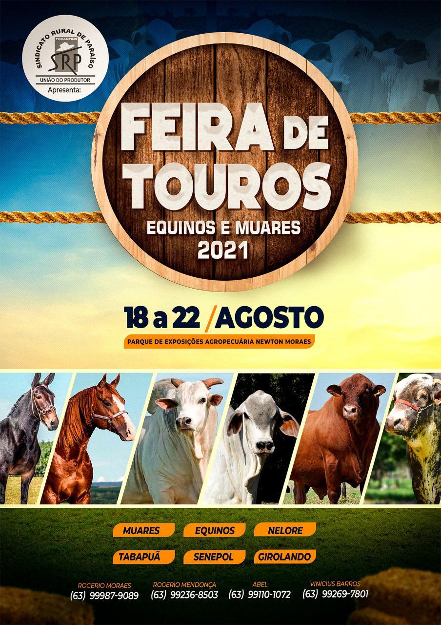Sindicato Rural de Paraíso anuncia feira de touros, equinos e muares