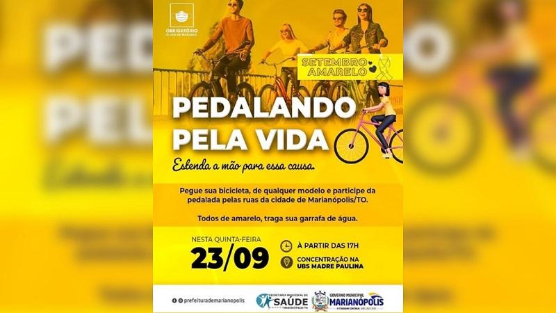 """Movimento """"Pedalando Pela Vida"""" será realizado em Marianópolis em alusão ao Setembro Amarelo"""