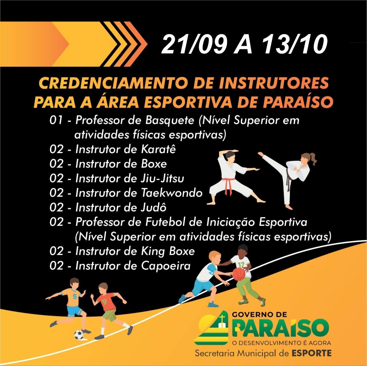 Prefeitura de Paraíso lança edital para credenciamento de Professores e Instrutores esportivos