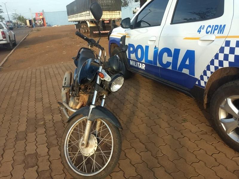 Moto furtada em Porto Nacional é recuperada pela Polícia Militar em Lagoa da Confusão