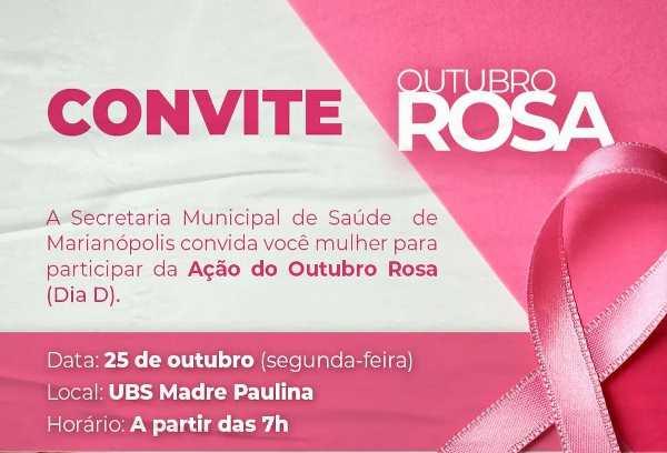 Outubro Rosa: Saúde de Marianópolis realizará programação especial para mulheres nesta segunda, 25