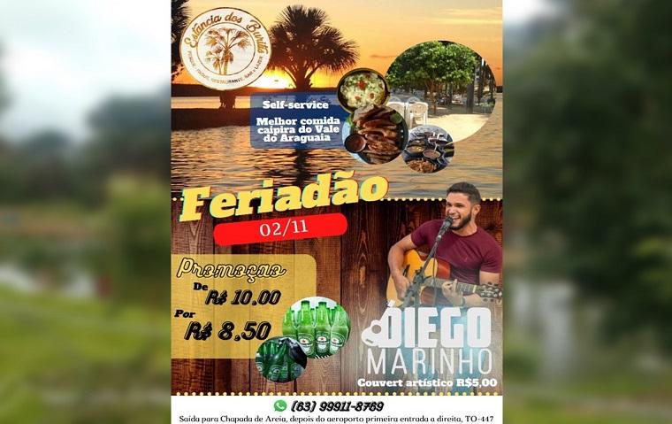 Estância dos Buritis terá programação com música ao vivo no feriado em Paraíso do Tocantins