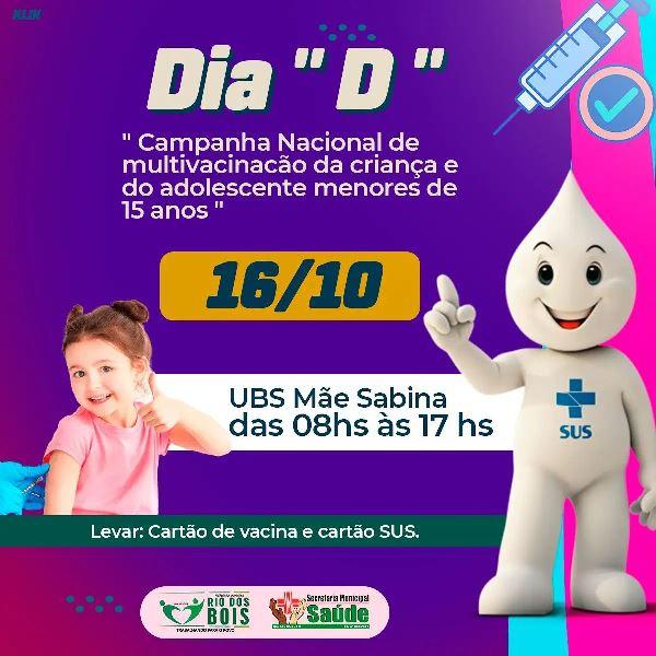 Rio dos Bois promove Dia 'D' de vacinação de crianças e adolescentes contra a Covid-19