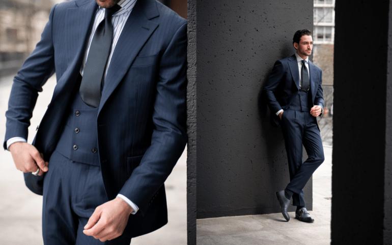 Striped suit, pinstripe, three piece power suit, three piece