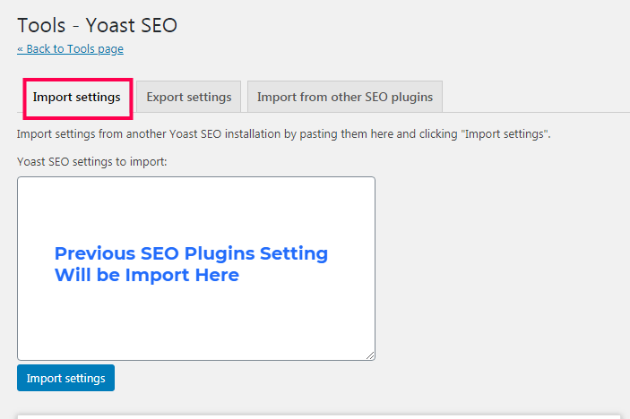 Yoast SEO Import and Export Setting