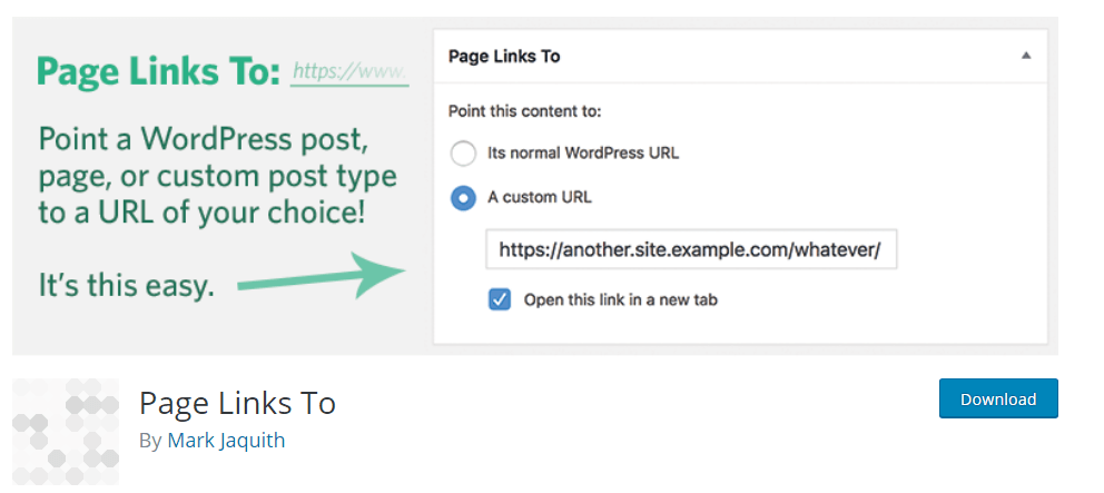 Wordpress Redirect By Page Link To