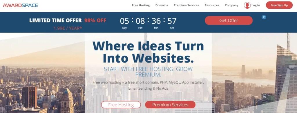 free web hosting sites Awardspace