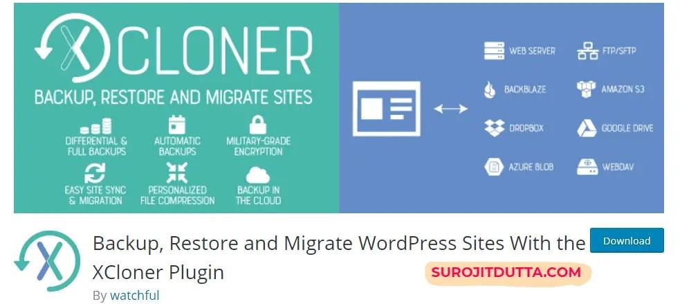 Xcloner- Another WordPress Backup Pligins