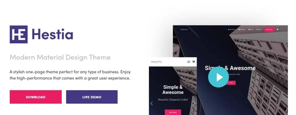 Hestia WordPress Free Themes Portfolio