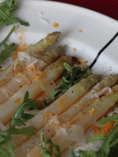 Asparagus with chorizo oil