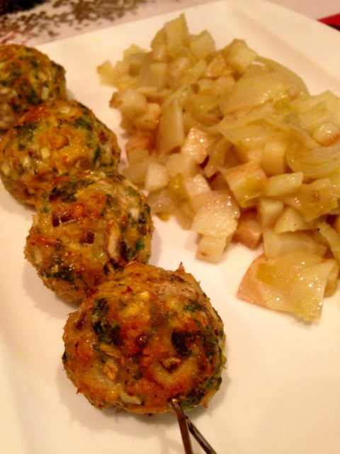 minced chicken balls with celeriac celery and Belgian endives
