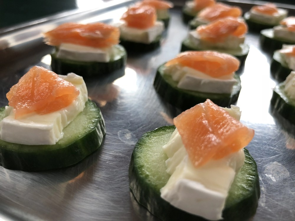 Easter snack: cucumber - brie - smoked salmon