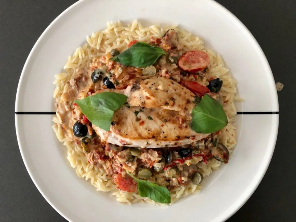 Mediterranean oven chicken with sun-dried tomato cream