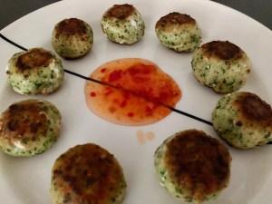 fishballs with cilantro