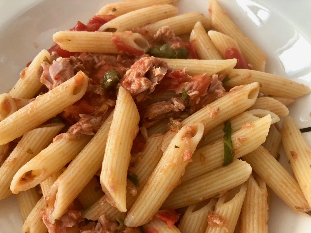 Sicilian tuna pasta with baked capers