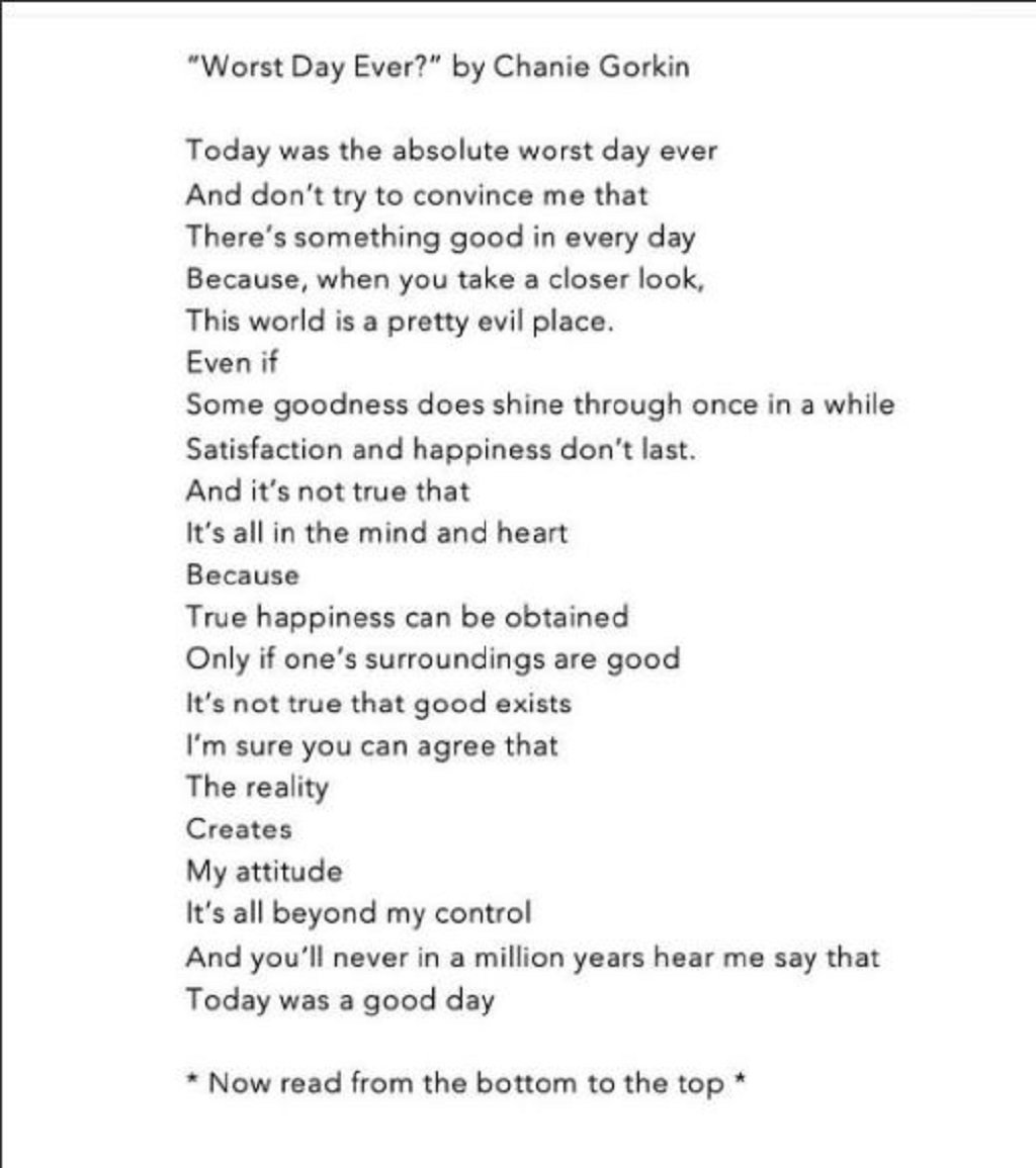 Your best or worst day poem by surprisinglives.net