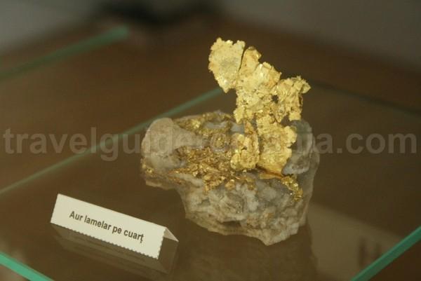 Aur lamelar in cuart - Muzeul Aurului Brad