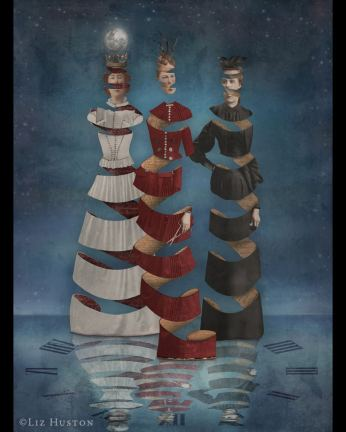 3 women made of paper spirals standing in the water in the moonlight at night