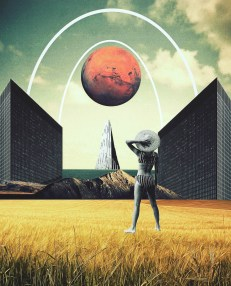A retro photo collage of a woman looking up up at Mars from a field