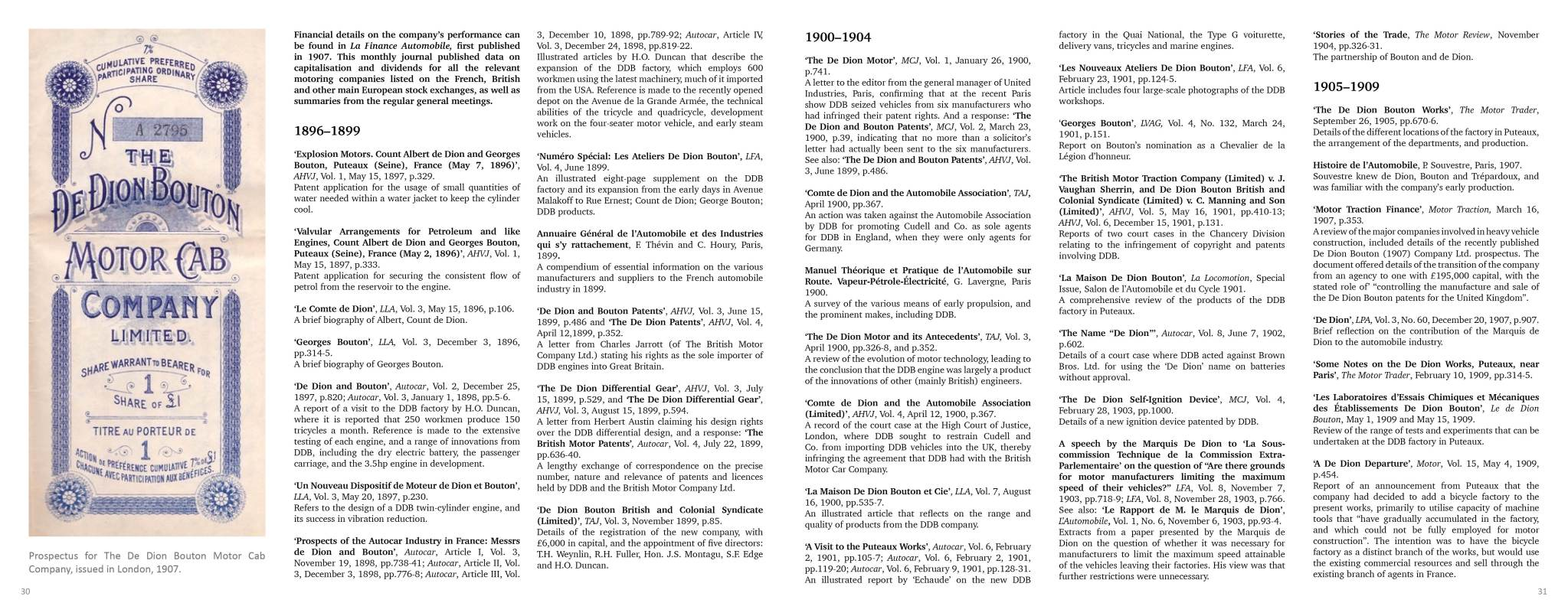Sample Page |Company History | De Dion Bouton - The Essential Library & Source Book 1888 – 1931