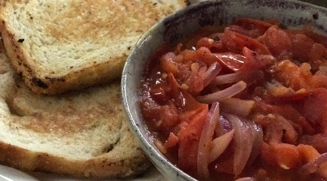 Butter Sautéed Tomato and Onions on Toast