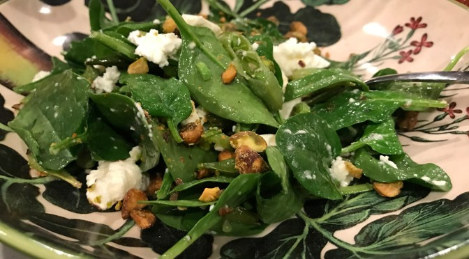 Spinach & Sugar Snap Pea Salad with Feta and Pistachios