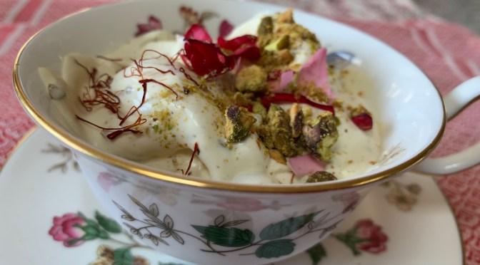 Akbar Mashti Ice Cream. Rose Saffron Pistachio Ice cream